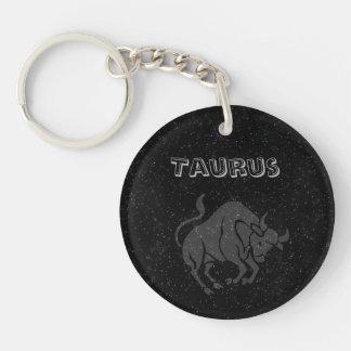 Translucent Taurus Single-Sided Round Acrylic Key Ring