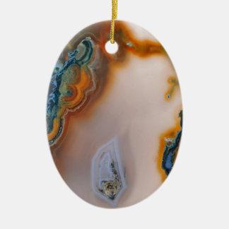 Translucent Teal & Rust Agate Ceramic Ornament