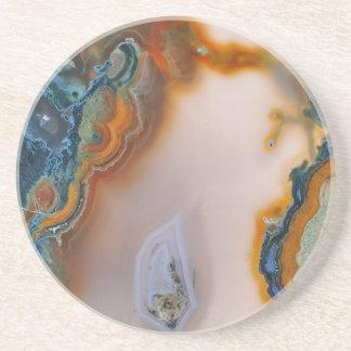 Translucent Teal & Rust Agate Coaster