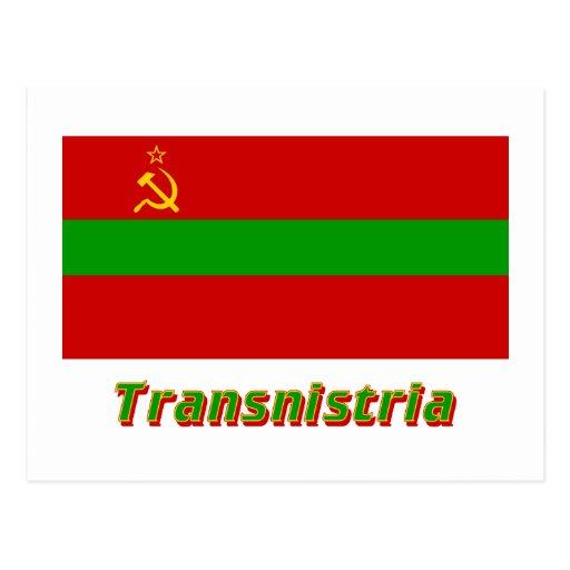 Transnistria Flag with Name Postcards