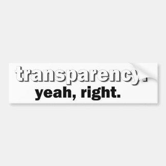 transparency bumper sticker