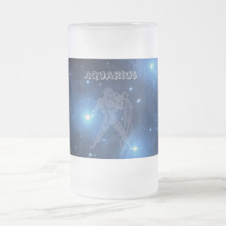 Transparent Aquarius Frosted Glass Beer Mug