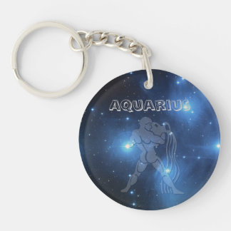 Transparent Aquarius Single-Sided Round Acrylic Key Ring