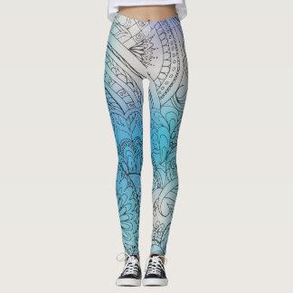 transparent black zen light pattern blue gradient leggings