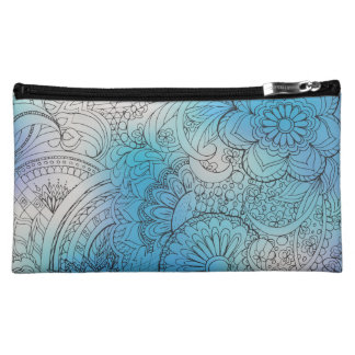 transparent black zen light pattern blue gradient makeup bag