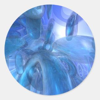 Transparent Blue Rings Round Sticker