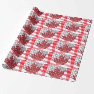 Transparent Canada and USA flags fade