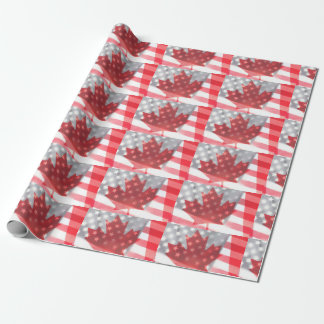 Transparent Canada and USA flags fade Wrapping Paper