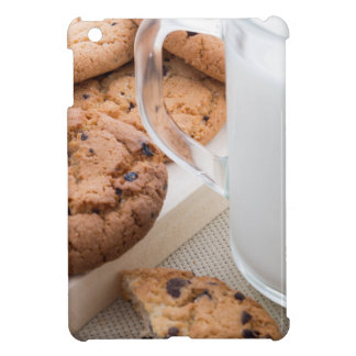 Transparent cup with milk and oatmeal cookies iPad mini cover