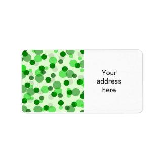 Transparent Green Dots Pattern Address Label