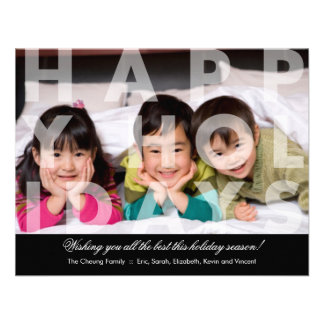 Transparent Happy Holidays Greeting Personalized Announcement