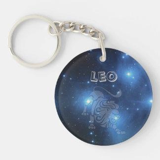 Transparent Leo Single-Sided Round Acrylic Key Ring