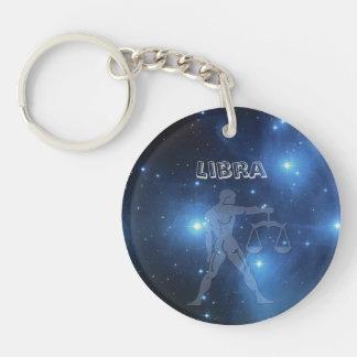 Transparent Libra Single-Sided Round Acrylic Key Ring