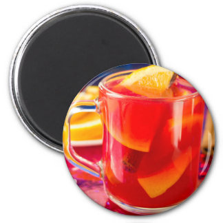 Transparent mug with citrus mulled wine magnet