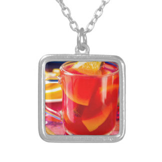 Transparent mug with citrus mulled wine silver plated necklace