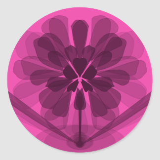 Transparent pink flower petals classic round sticker