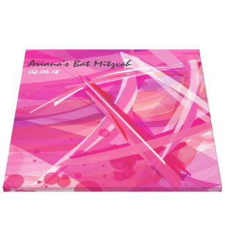 TRANSPARENT STAR-Pink Bat Mitzvah Sign-In Board Canvas Print