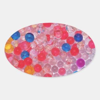 transparent water balls oval sticker