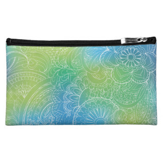 transparent white blue zen pattern gradient makeup bag