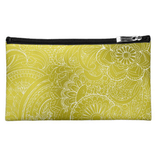 transparent white zen pattern gold gradient cosmetic bag