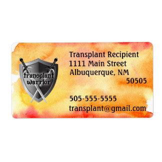 Transplant warrior shield address label