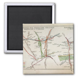 Transport map of London, c.1915 Square Magnet