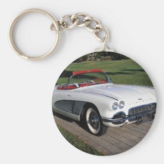 Transportation 077,classic cars,corvette,a classic basic round button key ring