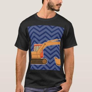 Transportation Backhoe Zigzag Chevron - Blue T-Shirt