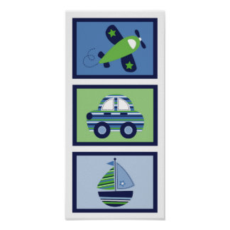 Transportation Car Boat Airplane Nursery Wall Art Posters