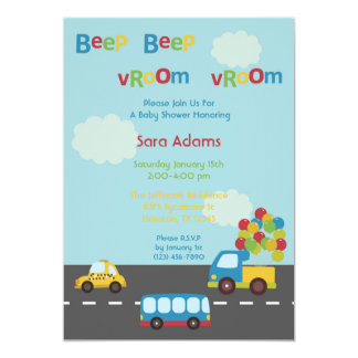 Transportation Car Bus 5x7 Baby Shower Invitation