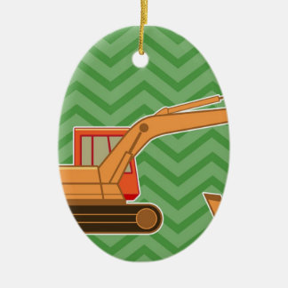 Transportation Heavy Equipment Backhoe - Green Ceramic Oval Decoration