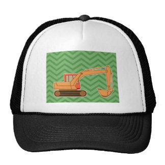 Transportation Heavy Equipment Backhoe - Green Mesh Hats