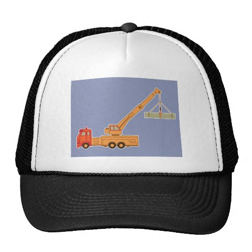 Transportation Heavy Equipment Orange Crane – Blue Mesh Hat