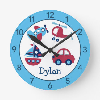 Transportation Personalized Nursery Wall Clock