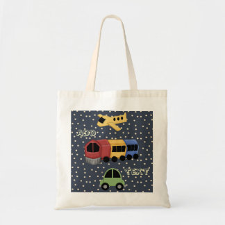 Transportation Theme Plane Train Car Tote Bag