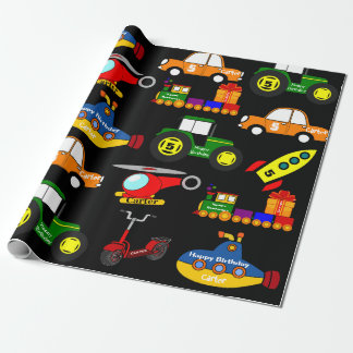 Transportation w/Personalised Name & Age Birthday Wrapping Paper