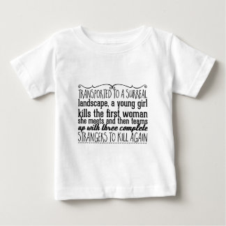Transported to a surreal landscape, a young girl baby T-Shirt