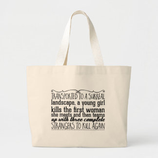 Transported to a surreal landscape, a young girl large tote bag