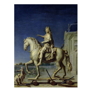 Transporting the Equestrian Statue of Louis Postcard