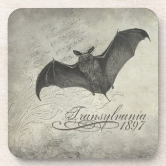 Transylvania 1897 Bat Collage Coasters Halloween