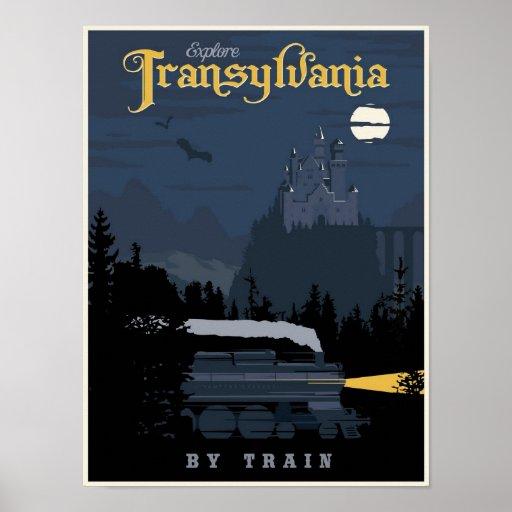 Transylvania by Train travel poster