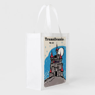 Transylvania Castle vintage travel poster Reusable Grocery Bag