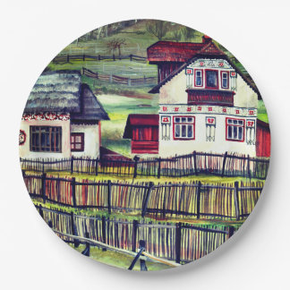 Transylvania, Romania, Picturesque Painted Scenery Paper Plate