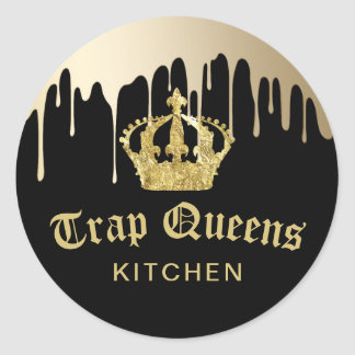 Trap Queens Kitchen Modern Black & Gold Restaurant Classic Round Sticker