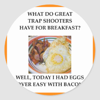 trap shooting classic round sticker