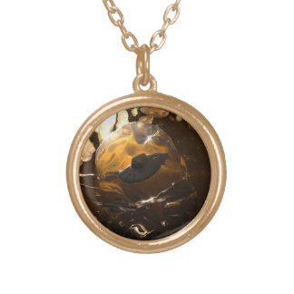 Trapped in Amber Gold Plated Necklace