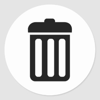Trash bin symbol classic round sticker