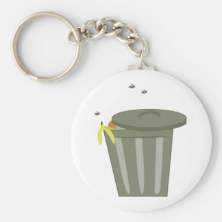 Trash Can Basic Round Button Key Ring