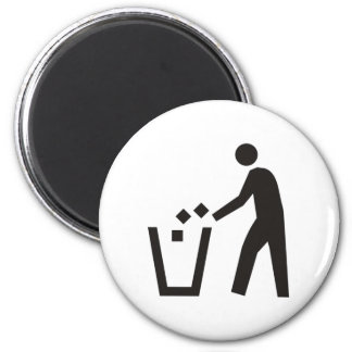 Trash Can Sign 6 Cm Round Magnet
