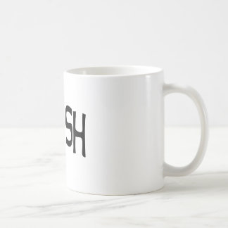 Trash print black coffee mug
